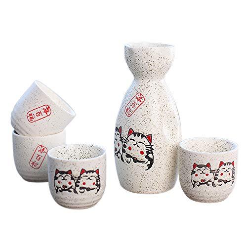 Panbado Sake Set aus Steinzeug, 5-TLG. mit Einer Sake Flasche und 4 Tassen, Japanischer Stil, Geschenk für Geburtstag, Weihnachten Sake-becher-set