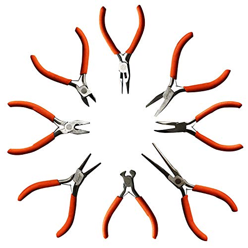 Set da 8 Pinze da Kurtzy - Tagliafilo, Pinze Piatte e Pinze Tonde - Kit Strumenti Impieghi Pesanti per Lavori Elettrici, Legno, Fai da Te e Creazione Gioielli- Impugnatura ergonomica (8 Pcs)