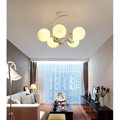 Oevina Modern Schlafzimmer Kronleuchter Deckenleuchte, zeitgenössische Glasschirm Anhänger Beleuchtung Innenleuchten E27 für Wohnzimmer Foyer Badezimmer-weißes Licht -