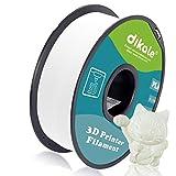 Dikale PLA Filamento para impresora 3D, 1,75 mm, bobina de 1 kg, precisión dimensional +/- 0,03 mm, gris (perfectamente enrollado, sin enredos), blanco