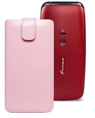 Original Favory Etui Tasche für / DORO Primo 401 / Leder Handytasche Ledertasche Schutzhülle Case Hülle *Speziell - Lasche mit Rückzugfunktion* in rosa