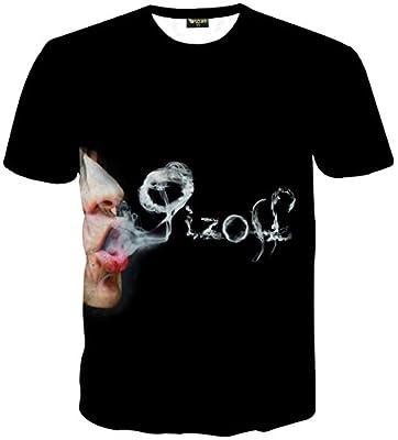 Pizoff Unisex Casual Short Sleeve Vape Vapor Electronic Cigarette Smoke Ring Print T-Shirt