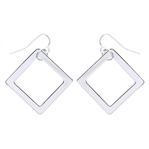 Front Row Damen-Ohrringe silberfarben Viereck Design