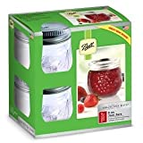 4 Ball® Fruit Design Small Glass Jam & Chutney Preserving Jars and Lids 240ml