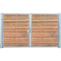 Einfahrtstor Verzinkt Holz Tor quer Symmetrisch 2-flügelig 400cm x 160cm