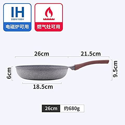 HOOM-A pan without sticky pan; without soot; a steak pot,Grey 26CM