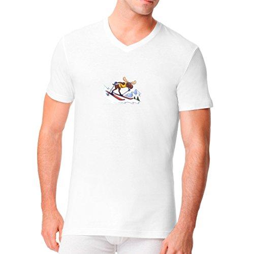 Sport Männer V-Neck Shirt - Elch auf Skiern by Im-Shirt Weiß