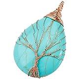KYEYGWO Draht Gewickelt Baum des Lebens Stein Anhänger Halskette für Damen und Herren, Teardrop Anhänger mit Kette 22