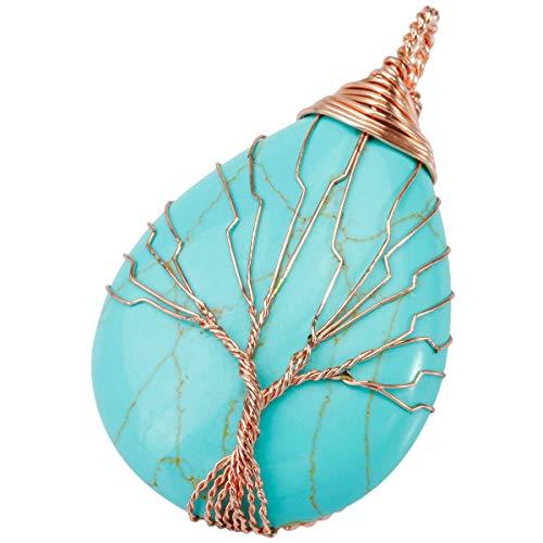 """KYEYGWO Baum des Lebens Stein Anhänger Halskette für Unisex, Wire Wrap Teardrop Anhänger mit Kette 22"""", Grüner Howlith Türkis"""