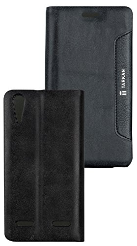 Tarkan Authentic Smart PU Leather Magnetic Flip Case Cover with Convertible Back Stand For Lenovo A6000 / A6000+ Plus - Black