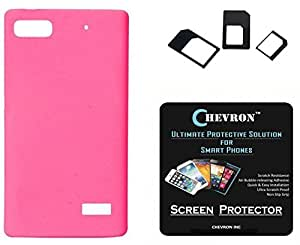 Chevron Rubberized Matte Finish Back Cover Case for Huawei Honor 4C with HD Screen Guard & Multi Sim Adapter (Deep Pink)