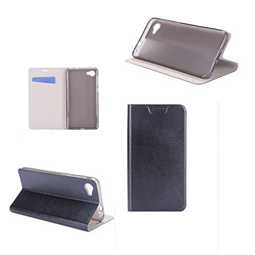 Digital Bay Hülle ALCATEL A5 LED Taschen [Flip Armor] Kartenfach [Diamant Schwarz] Doppelte Schutzschicht mit Luftpolster-Kantenschutz - Card Holder Schutzhülle, Jet Black