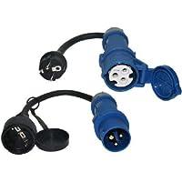 2x Adapterleitung CEE 0,3m schwarz 230V 16A 3polig