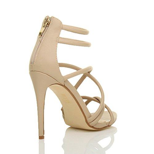 Ajvani Femmes talon haut lanières cheville fête soirée sandales chaussures pointure Beige Mat