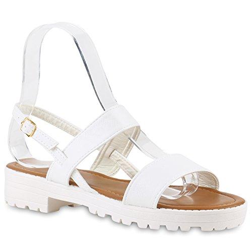 Damen Komfort-Sandalen | Lack-Optik Glitzer Metallic | Sommerschuhe | Plateau Sandalen Sandaletten | Kork Blumen Glitzer Weiss Weiss
