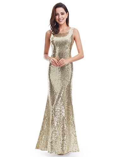 Ever Pretty Lang Pailletten Elegant Partykleid Cocktailkleid Abendkleid 38 Gold