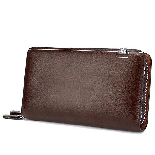 Mjhwsx Borsetta Cuoio Grande capacità Affari Elegante Portafoglio Multi-card solido di colore borsa degli uomini di lungo casuale Pochette in pelle sintetico Fodera Telefono pacchetto , brown