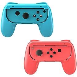 MoKo Joy-con, Impugnatura Nintendo Switch, 2 Set Custodia Joystick Nintendo Ergonomica In Resina ABS Protezione Urti, Graffi con Pulsanti SL/SR per Gioco Accessori Nintendo Switch Joy-Con, Rosso + Blu