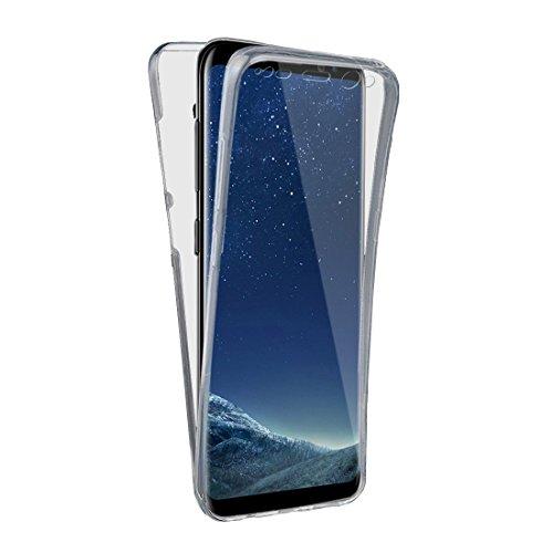 Samsung Galaxy S8 Plus Hülle Komplett Schutz Handyhülle vorne und hinten TPU Silikon Case Transparent von wortek (Crystal Polster-tasten)