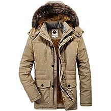 ddb15aa54cf7 Yallmarket Herren Winterjacke Winter Warme Parka Jacke Winterparka mit  Kapuze Outdoor Gefüttert Wintermantel