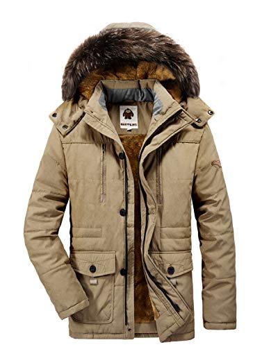 Winterjacke Herren Parka Gefüttert Baumwolle Mantel mit Pelzkragen Jacke Warm Outdoor Kapuzenjacke mit Fell, 03-Khaki, Gr. XL -