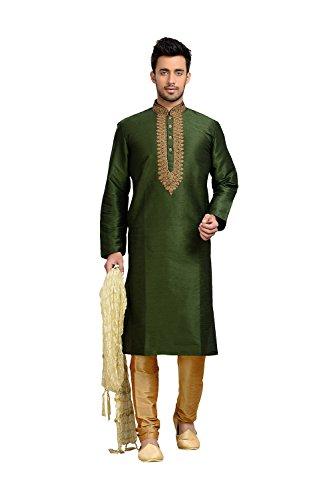 India silk le meilleur prix dans amazon savemoney da facioun mens kurta pajama wedding dupion art silk mehandi green india party gumiabroncs Images