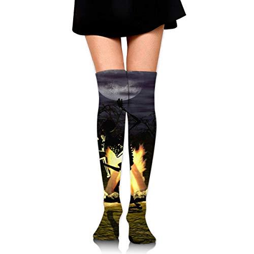 HRTSHRTE Image-50787070-halloween-skeleton-wallpaper-2880x1800 Ankle Stockings Over The Knee Sexy Womens Sports Athletic Soccer Socks (Wallpaper Orange Halloween)