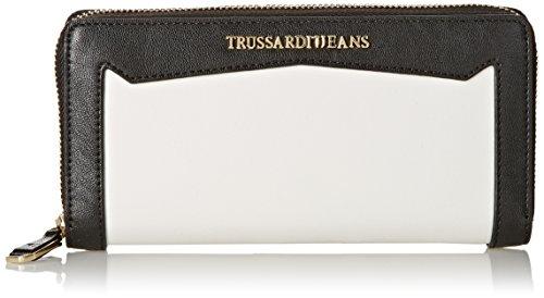 Trussardi Jeans Zip Around Grande, Saint Tropez, Bianco, 19 cm