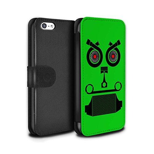 Stuff4 Coque/Etui/Housse Cuir PU Case/Cover pour Apple iPhone 5C / Filtre Air Design / Visages Pièce Voiture Collection Turbo/Vert
