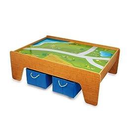 2232 Tavolo da Gioco in Legno Small Foot, con Superficie in Tessuto, incl. Due scatole in Tessuto Ch