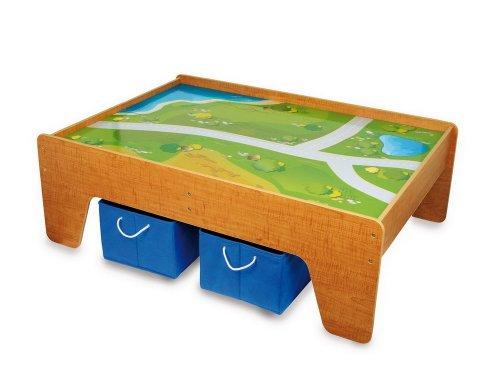 Small Foot by Legler Spieltisch / Kindermöbel aus Holz inkl. 2 Aufbewahrungsboxen aus Textil, für Kinder ab 2 Jahre geeignet