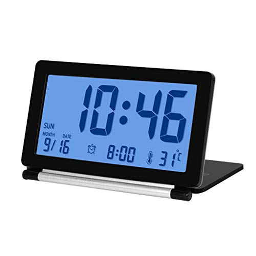 T5S6 Viajes Plegable silencioso Reloj Despertador Digital con Pantalla Inteligente luz de la Noche Temperatura...
