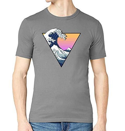 Iprints Crashing Wave Aesthetic Vector Art Grigio Crew Neck Men's T-Shirt M