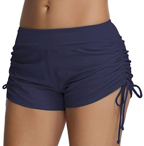 OLIPHEE Damen Badeshorts Bikinihose Wassersport Hotpants Verstellbare Kordel Bände Schwimmshorts Bunte Farben Dunkelblau L