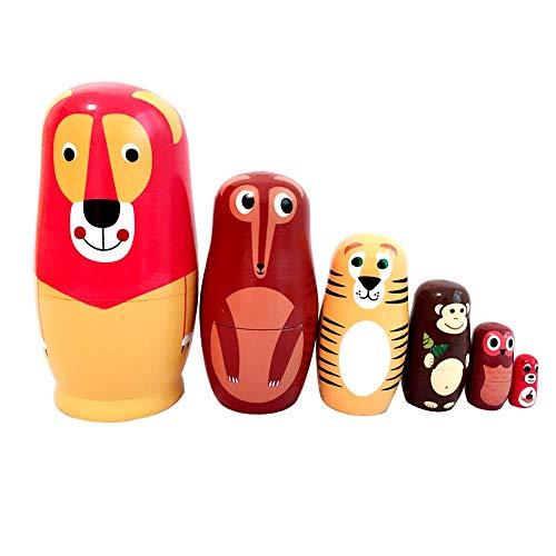 NICEWL 6 Stück Aus Holz Authentische Russische Nesting Dolls-Süße Tier Puppe Matroschka Holz, Verschachtelte Stapeln Puppen, Inneneinrichtungen, Geburtstagsgeschenk Wünschen (Für Halloween Baby-handwerk-ideen)