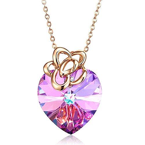 Haixin Cadeau de Saint Valentin à l'aide de Swarovski élément couleur violet cristal S925 argent sterling en forme de cœur collier femelle