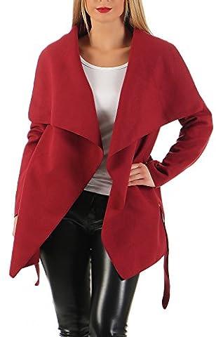 Damen kurz Mantel Trenchcoat mit Taschen ( 541 ), Rot, M / 38