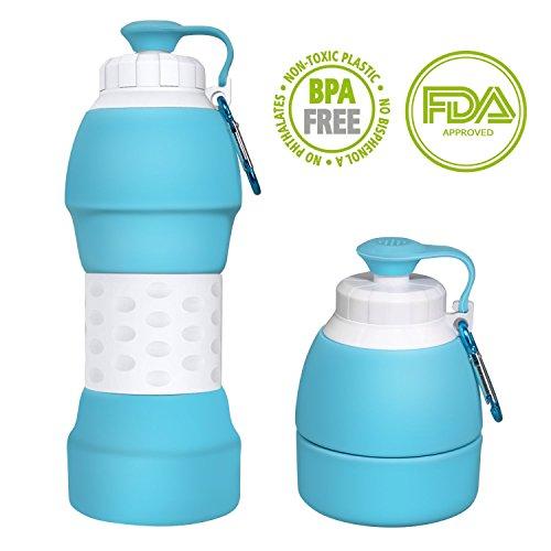 Wasser Flasche, zusammenklappbar, auslaufsicher Silikon Wasserkocher, leichtem BPA-frei umweltfreundlichem wiederverwendbar Trinkflaschen für Reisen 580ml (Blau)