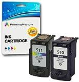 2 Druckerpatronen für Canon Pixma iP2700 MP230 MP240 MP250 MP252 MP260 MP270 MP272 MP280 MP480 MP490 MP492 MP495 MX320 MX340 MX350 MX360 MX410 MX420 | kompatibel zu PG-510 (PG510) CL-511 (CL511)