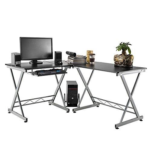 Greatdeal L-Shaped Large Corner Computer Desk Home Office Desk Workstation Keyboard Shelf with Computer Host Frame Black