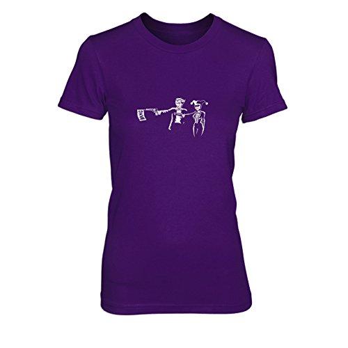 Evil Fiction - Damen T-Shirt, Größe: M, Farbe: lila (Batman The Dark Knight Kostüm Arkham Origins)