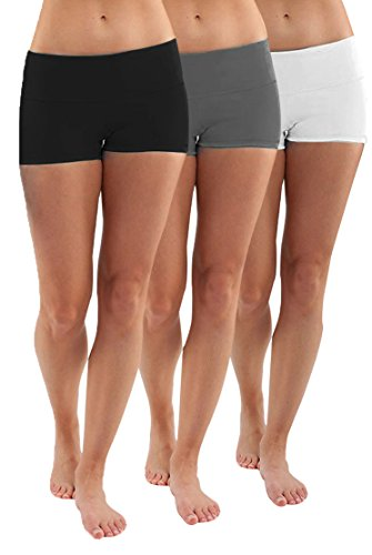 LOT 3 Shorts de Sport Femme Fitness Yoga Running Short Culotte de Sportif Fitness,M