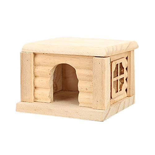 Antipasto durevole in legno criceto casa del nido - non tossico in legno capanna e castello di piccoli animali da gioco giocattolo da masticare