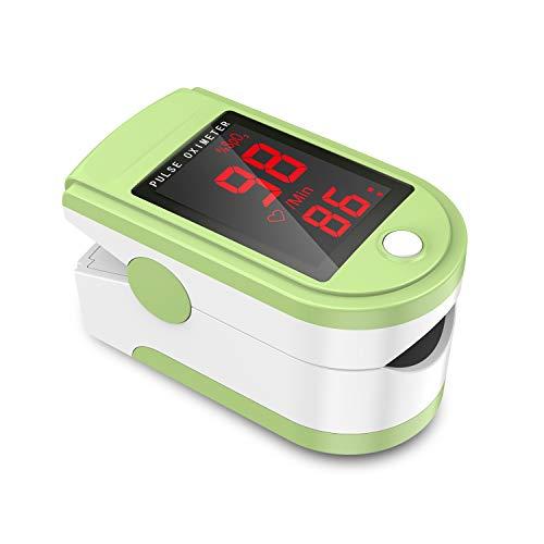 JUMPER Pulsoximeter mit Großem LED Bildschirm Finger SpO2 Pulsmesser Pulsmessgerät zur Messung der Blutsauerstoffsättigung und Herzfrequenz (Grün)