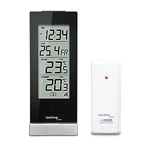 Technoline WS 9767 Wetterstation mit Funkuhr, Innen- und Außentemperaturanzeige, hochglanz, schwarz, 6,4 x 4,5 x 16,5 cm