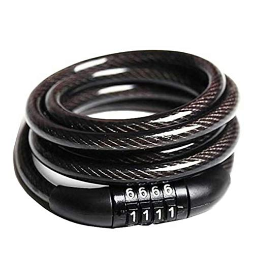 Souxe 4 Letters Number Lock Combination Coiled Bike Steel Cable/Lock Accessories Helmet Lock Number Key (Black)