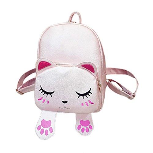 Damen Frauen Mädchen Katze Fußspur PU Leder Schultasche Tasche Handtaschen Rucksäcke (Mini-rucksack Frauen Jansport Für)