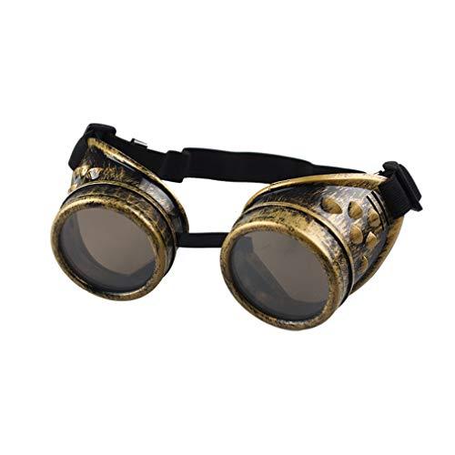 longzjhd Schutzbrille Schweißen Sonnenbrille Welding Cyber Goggles Steampunk Goth Round Cosplay Brille Party Fancy Brille Punk Brille Steampunk Vintage Polarisiert Sonnenbrillen Brillen -