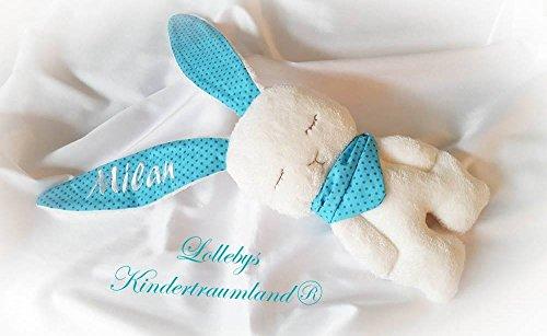 Stofftier Hase - mit NAMEN BESTICKT - Kuscheltier Baby Kinder Geschenk personalisiert mit Wunschnamen - Taufe (Türkis, Punkte, Wollweiß) (Personalisierte Stofftiere Für Babys)