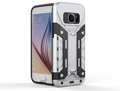 Samsung Galaxy S7 Case, 2 in 1 neue Rüstung Tough Style Hybrid Dual Layer Armor Defender PC harte Fälle mit Standfuß Shockproof Fall Für Samsung Galaxy S7 ( Color : Silver , Size : Samsung S7 ) Silver